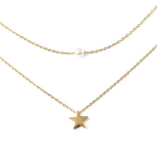 """Personalised Engravable Star and Imitation pearl layered necklace 15.5"""" , Stainless Steel"""