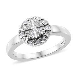 Diamond (Rnd) Ring in Platinum Overlay Sterling Silver 0.100 Ct.