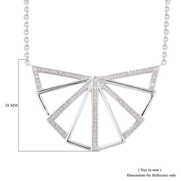 LucyQ Art Deco Collection - Natural White Cambodian Zircon (Rnd) Necklace (Size 30) in Rhodium Overlay Sterling Silver, Silver wt. 13.55 Gms