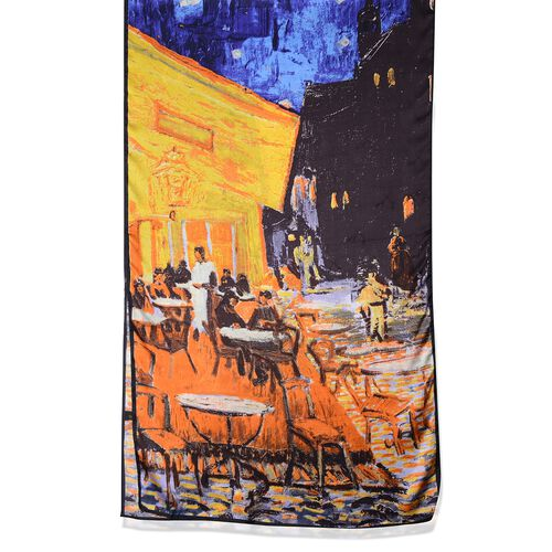 100% Mulberry Silk Orange, Yellow, Chocolate and Multi Colour Terrace Cafe Pattern Scarf (Size 160x45 Cm) (Weight 40 Gms)