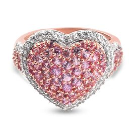 Pink Sapphire Heart Cluster Ring in Rose Gold Overlay Sterling Silver 3.16 Ct.