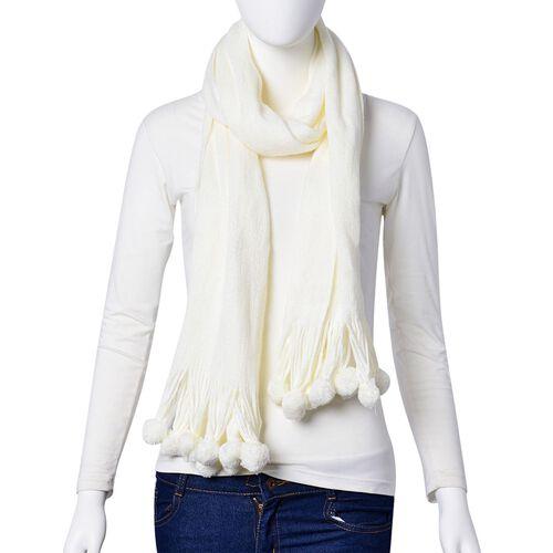 White Colour Scarf with Fur Balls (Size 160x40 Cm)