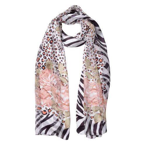 100% Mulberry Silk Mellow Rose, Black and Multi Colour Rose Flower and Leopard Print Scarf with Zebr