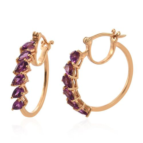 Rare Mozambique Grape Colour Garnet (Pear) Hoop Earrings (with Clasp) in 14K Gold Overlay Sterling Silver 3.000 Ct.