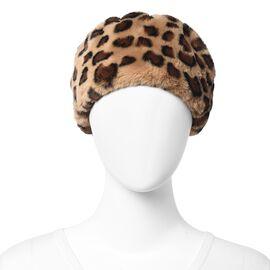 Leopard Pattern Faux Fur Warming Headband (Size 12x30 Cm) - Black and Brown