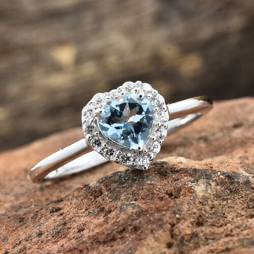 9K White Gold AA Santa Maria Aquamarine (Hrt), Natural Cambodian Zircon Ring 1.000 Ct.