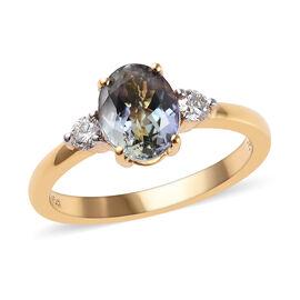 ILIANA 18K Yellow Gold AAA Peacock Tanzanite (Ovl), Diamond (SI/G-H) Ring 1.650 Ct.