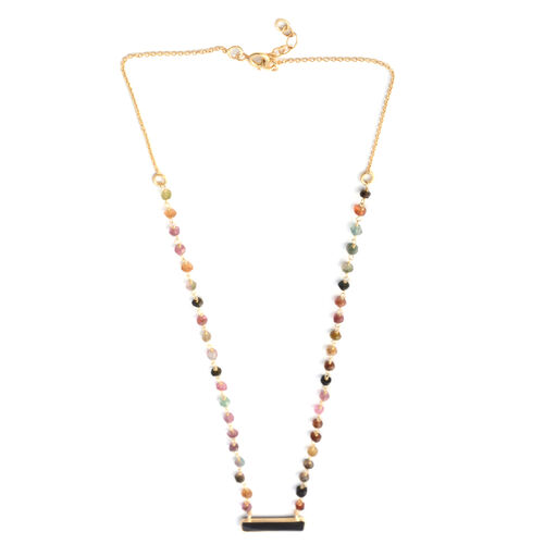 Black Onyx and Black Tourmaline Beads Necklace (Size 18 with 1 inch Extender) in Yellow Gold Overlay Sterling Silver 9.000 Ct.