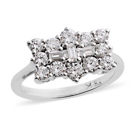 ILIANA 18K W Gold IGI Certified Diamond (Bgt) (SI/G-H) Boat Cluster Ring 1.000 Ct.