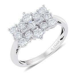 ILIANA 1 Carat Diamond Boat Ring in 18K White Gold 3.6 Grams IGI Certified