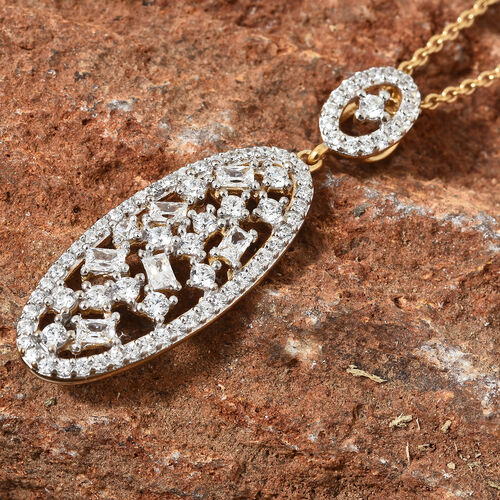 J Francis -14K Gold Overlay Sterling Silver Pendant with Chain (Rnd) Made with SWAROVSKI ZIRCONIA, Silver wt 5.00 Gms.