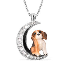 White Austrian Crystal Engraved Moon and Enamelled Beagle Dog Pendant with Chain (Size 20) in Stainl