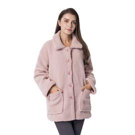 New Season - Designer Inspired - Teddy Faux Fur Coat (Size XL/14-16 ) - Dusky Pink