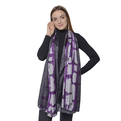 New Collection- 100% Mulberry Silk Bold and Wild Leopard Pattern Scarf (Size 180x110Cm) - Purple