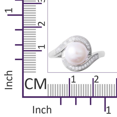 ELANZA Simulated Pearl (Rnd), Simulated Diamond Ring in Rhodium Overlay Sterling Silver
