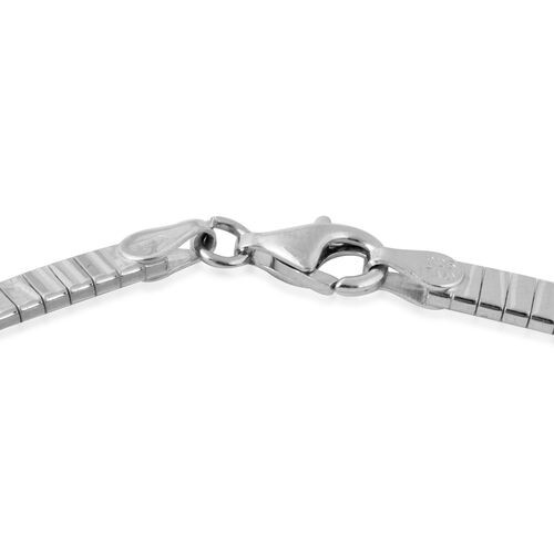 Italian Made - Rhodium Overlay Sterling Silver Cleopatra Necklace (Size 17), Silver wt 30.31 Gms.