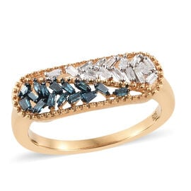 Diamond 14K Gold Overlay Sterling Silver Ring  0.250  Ct.