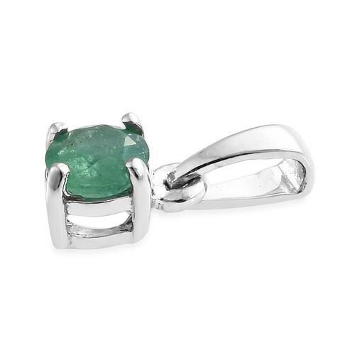 WEBEX- Kagem Zambian Emerald (Rnd) Solitaire Pendant in Platinum Overlay Sterling Silver 0.500 Ct