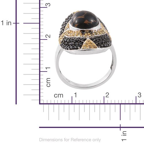 Arizona Mojave Black Turquoise (Ovl 4.60 Ct), Boi Ploi Black Spinel and Yellow Sapphire Ring in Platinum Overlay Sterling Silver 7.250 Ct. Silver wt. 7.90 Gms.