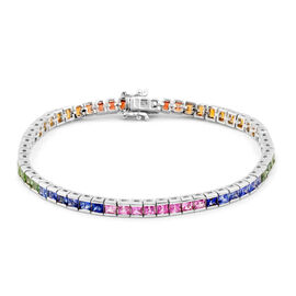 Collectors Edition- Rainbow Sapphire (Princess Cut) Channel Set Bracelet (Size 7.75) Rhodium Plated Sterling Silver 8.650 Ct. Silver wt 12.50 Gms.