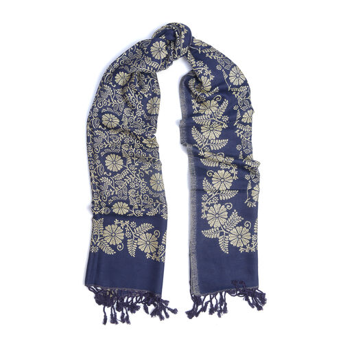 Jacquard Pattern Blue and Cream Scarf (Size 70x200 Cm)
