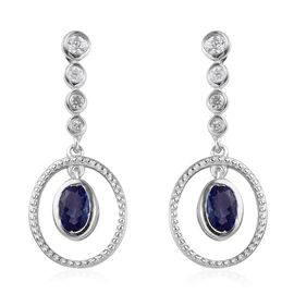 Tanzanite and White Zircon Drop Earrings in Platinum Plated Sterling Silver 1.25 Ct