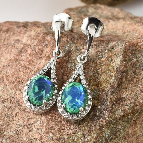 Peacock Quartz (Ovl) Earrings (with Push Back) in Platinum Overlay Sterling Silver 2.750 Ct.
