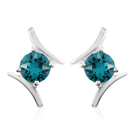Swarovski Blue Zircon Crystal (1.00 Ct) Sterling Silver Solitaire Stud Push Post Earring  1.000  Ct.