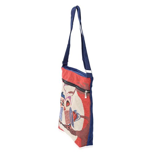 Super Chic Happy Birds Print Handbag with Adjustable Strap and Extra Compartment (32x27x5.5cm)