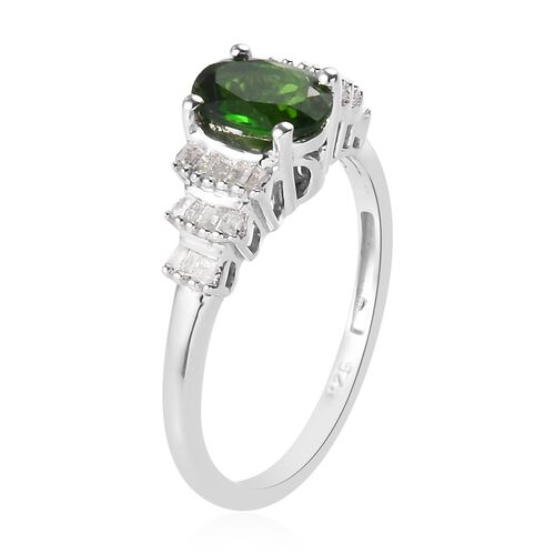 Russian Diopside and Diamond Ring in Platinum Overlay Sterling Silver 1.00 Ct.