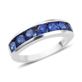 RHAPSODY 950 Platinum AAAA Ceylon Blue Sapphire Half Eternity Band Ring 2.00 Ct, Platinum wt 5.50 Gm