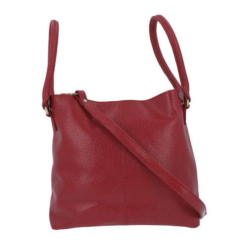 100% Genuine Leather Weave Pattern Designer Handbag with Detachable Shoulder Strap (Size 30x13x28 Cm