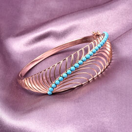 Isabella Liu Sea Rhyme Collection - Arizona Sleeping Beauty Turquoise Bangle (Size 7.5) in Rose Gold Overlay Sterling Silver Silver Wt 27 grams