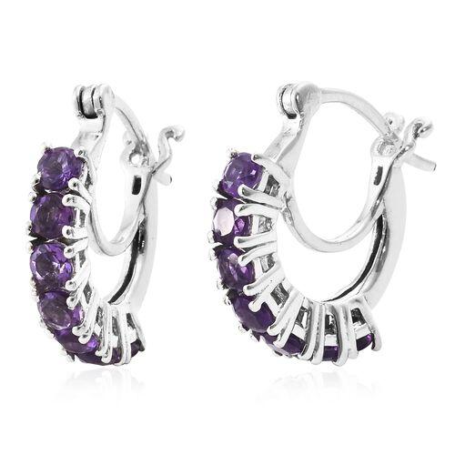 Amethyst Hoop Earrings in Platinum Plated Silver 1.25 Ct