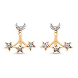 Sundays Child Natural Cambodian Zircon Earrings (with Push Back) in 14K Gold Overlay Sterling Silver