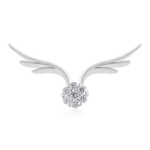 J Francis - Sterling Silver (Rnd) Wings Pendant Made with SWAROVSKI ZIRCONIA