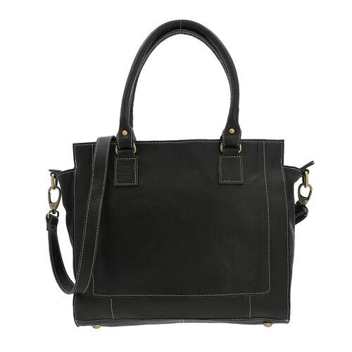 100% Genuine Leather Shoulder Bag with Detachable and Adjustable Strap (Size 33x22x8.5 Cm) - Black