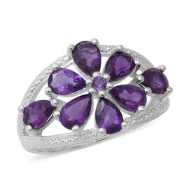Amethyst (Pear and Rnd) Floral Ring in Sterling Silver 3.08 Ct, Silver wt 3.20 Gms