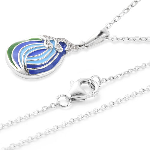 Isabella Liu Embrace Scar Collection - Natural Cambodian Zircon Enamelled Pendant with Chain (Size 30) in Rhodium Overlay Sterling Silver