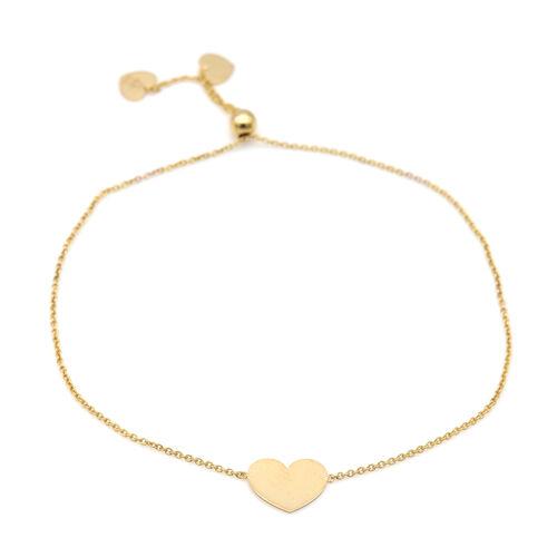 9CT Gold Heart, Adjustable Bracelet, Size 8-8.5 Inch