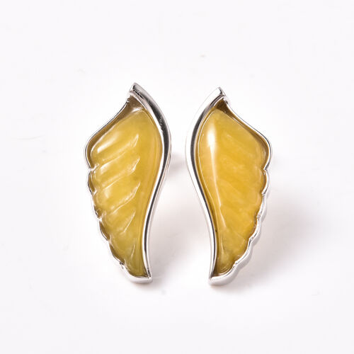 Isabella Liu Angel Wing Collection - Carved Yellow Jade Earrings (with Push Back) in Rhodium Overlay
