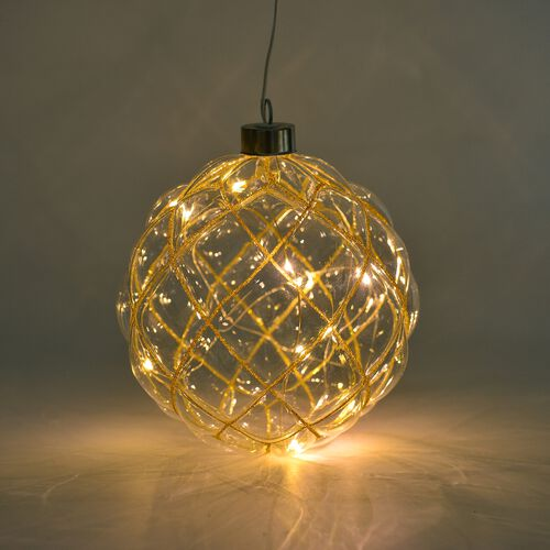 Golden Hanging Glass Ball with LED Lights
