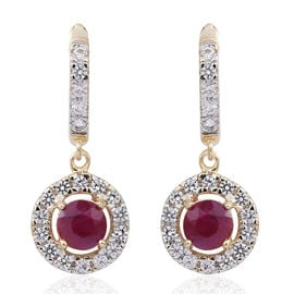 2.30 Ct AA Burmese Ruby and Natural White Cambodian Zircon Earrings in 9K Gold (with Clasp Lock)