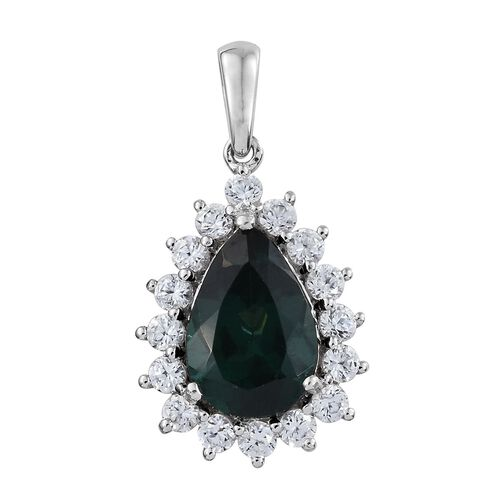 9K W Gold AAA Teal Apatite (Pear 2.75 Ct), Natural Cambodian Zircon Pendant 3.500 Ct.