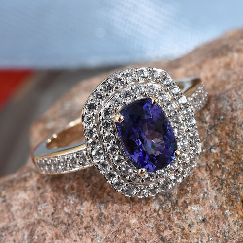 GP 9K Yellow Gold AAA Tanzanite (Cush 8x6 mm), Natural Cambodian Zircon and Blue Sapphire Ring 2.00 Ct.