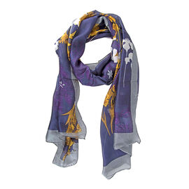 Close Out Deal- LucyK 100% Mulberry Silk Floral Pattern Scarf (Size 50x180 Cm) -  Blue