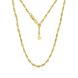Designer Inspired- 14K Gold Overlay Sterling Silver Adjustable Twisted Singapore Diamond Cut Chain (
