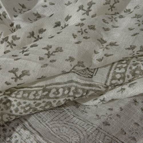 One Time Close Out Deal- Special Edition- White and Olive Colour Handblock Printed Scarf (Size 180x75 Cm)
