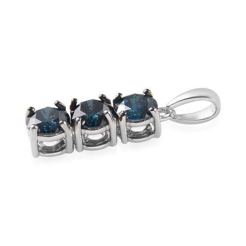 9K White Gold Blue Diamond Pendant  1.50 Ct.