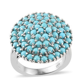 Arizona Sleeping Beauty Turquoise (Rnd), Natural White Cambodian Zircon Ring in Platinum Overlay Sterling Silver 2.300 Ct, Silver wt 7.58 Gms